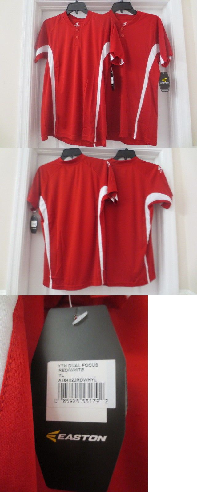 Baseball Shirts and Jerseys 181348  Lot Of 2 Easton Youth Dual Focus  Baseball Jersey Red Large -  BUY IT NOW ONLY   16.99 on  eBay  baseball   shirts ... b2eea96fe