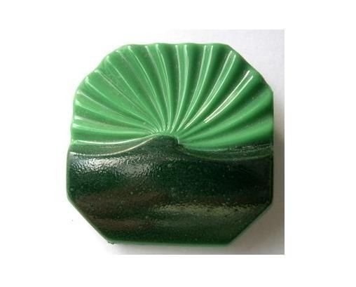 Antique button glass vintage square green and black by oritdotan