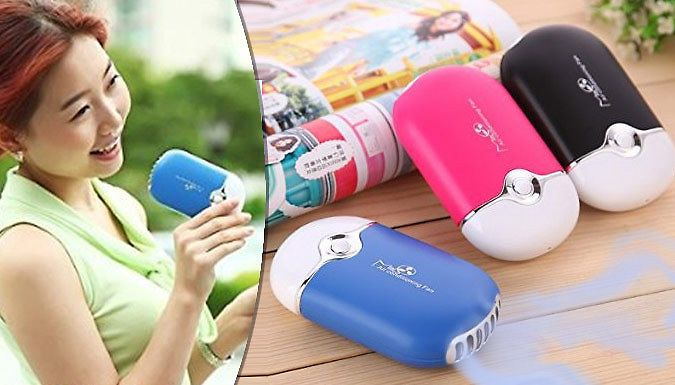 Buy Portable Mini Handheld Air Conditioner - 2 Colours for just £9.99 Never be far from a cool breeze with thisPortable Mini Handheld Air Conditioner      Choose from pink or blue designs      Features a in-built rechargeable battery      Comes with USB