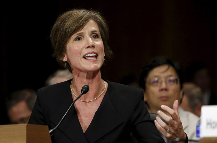 Then-Deputy Attorney General Sally Quillian Yates testifies during a Senate Judiciary Committee hearing in 2015. Photo by Kevin Lamarque/Reuters