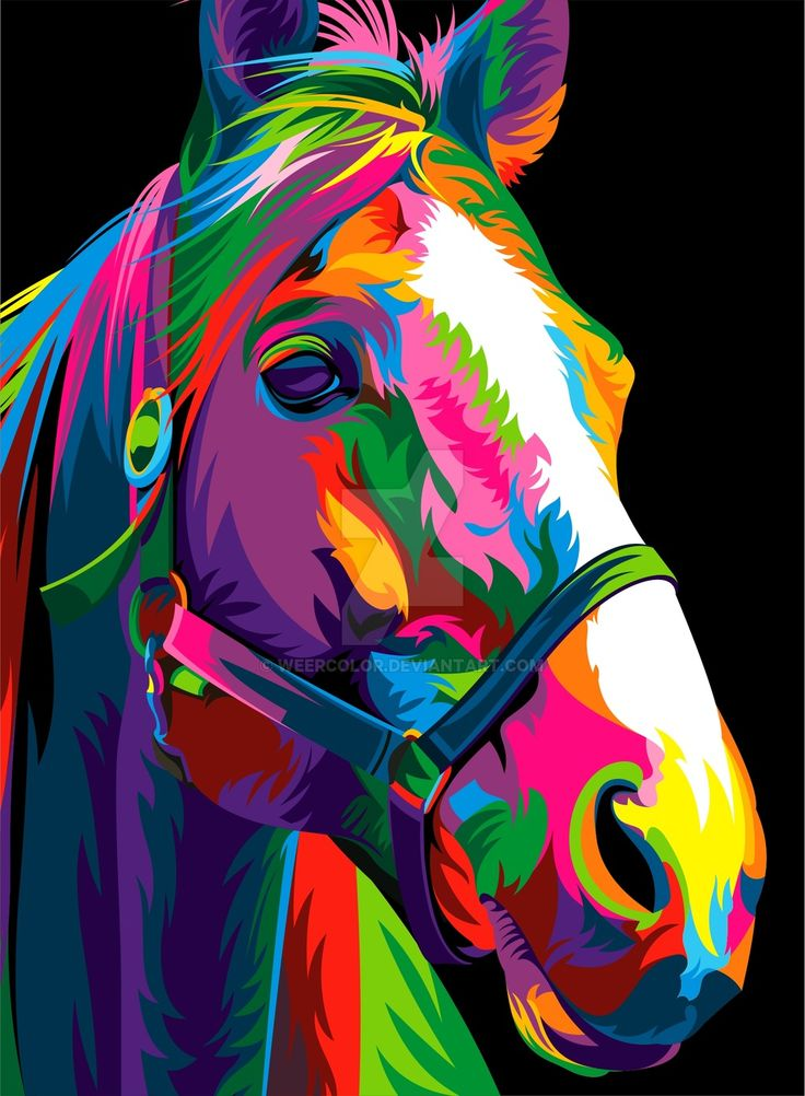 Horse by weercolor colorful animal paintings pop art