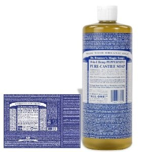 Dr B's peppermint soap... my hippie mom used it for everything and reading the bottle is a trip!