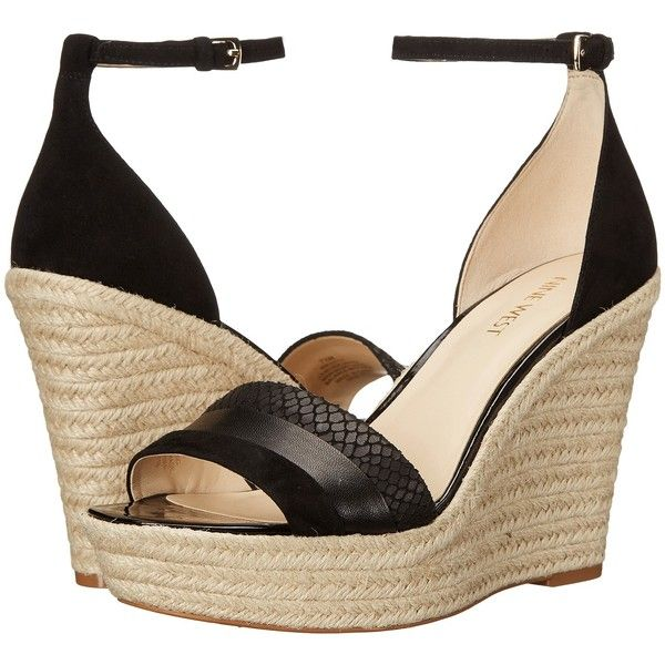 e97f07e17a4a Nine West Jutty (Black Multi Suede) Women s Wedge Shoes ( 66) ❤ liked on  Polyvore featuring shoes