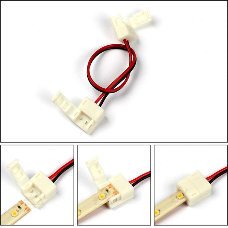 2pins Terminal Cable for Single Color LED Strips with 8mm/10mm Width PCB Connector