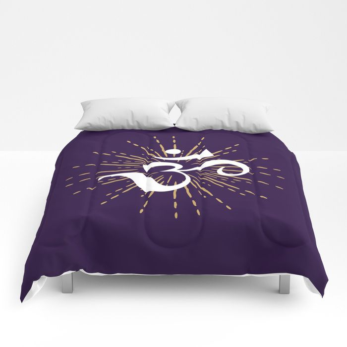 Om Symbol comforters! Great for the yogi's cave! ☺️ Our comforters are cozy, lightweight pieces of sleep heaven. Designs are printed onto 100% microfiber polyester fabric for brilliant images and a soft, premium touch. Lined with fluffy polyfill and available in king, queen and full sizes. Machine washable with cold water gentle cycle and mild detergent.
