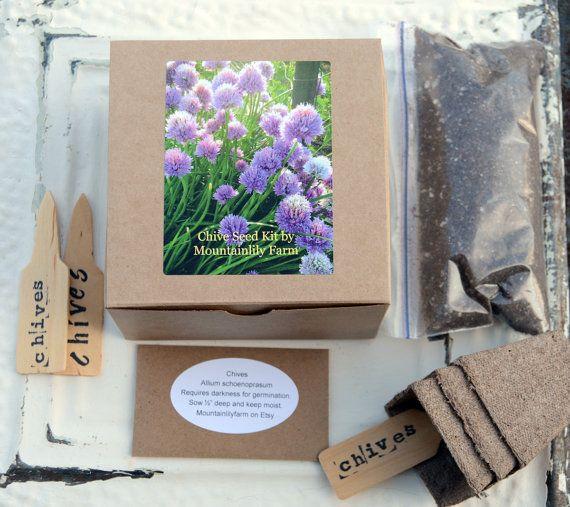 Indoor Herb Garden Kit Chives Seed Kit Organic Herb Seeds Gift for Mom Hostess Gift or Gift For Gardener on Etsy, $9.95