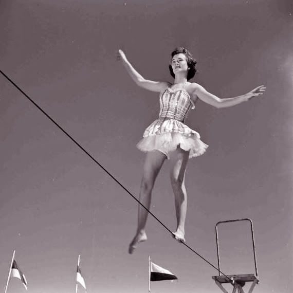 vintage tightrope walker | Trapeze walker at Circus Girl University of Florida, March 1952. Photo ...