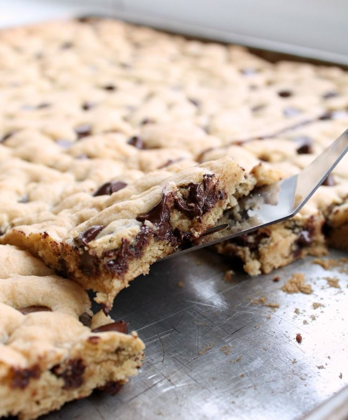 Soft and chewy chocolate chip cookie bars that can feed a crowd.