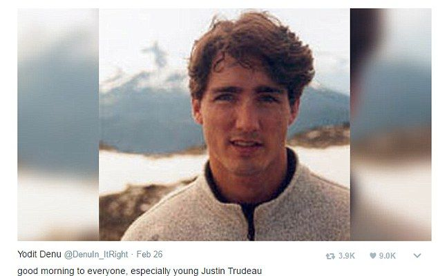 This image of a young Trudeau in front of a mountain range is circulating online. Struggling to keep her emotions in check, one fan wrote: 'Young Justin Trudeau is here to stand you up at prom and break your heart'