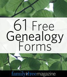 Family Tree Magazine - Free Forms - Family History / Genealogy / Research…