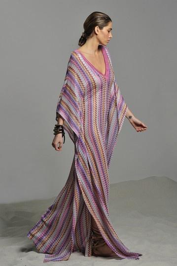 poolside:  ALEXIS Nina Long Caftan in Ziggy Pastels purple print