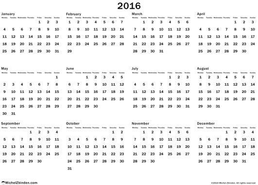 calendar 2016 annual free to print Gregorius Monday World