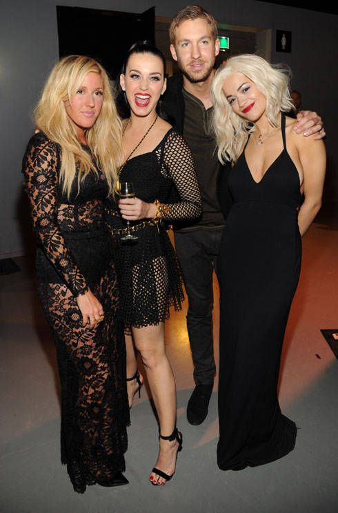 Ellie Goulding, Katy Perry, Calvin Harris and Rita Ora backstage at the MTV EMAs 2013 .. BEST pic ever!