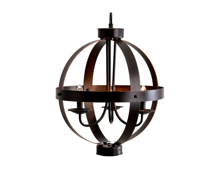 The cage globe shade on this catalina lighting 19000 chandelier features a bronze finish rustic hardware and candelabra lights tucked inside