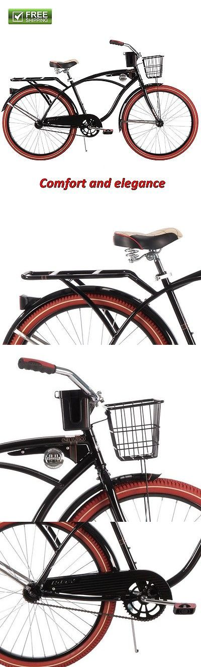 bicycles: Huffy Cruiser Bike 26 Men'S Black Commuter Comfort City Beach Bicycle Rear Rack BUY IT NOW ONLY: $157.08