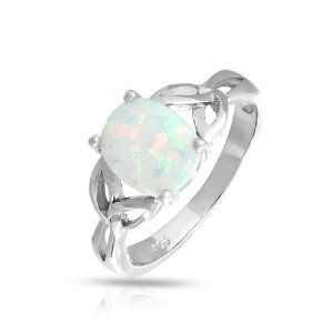 Bling Jewelry Triquetra Celtic Knot Gemstone Oval White Opal Ring 925 Sterling