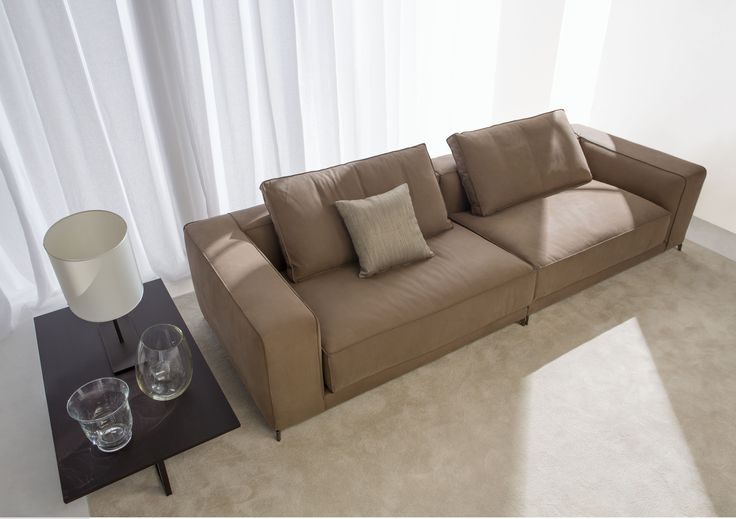 Christian leather Italian sofa, designed by the Berto Design Studio and hand made by master artisans in the Berto laboratory.