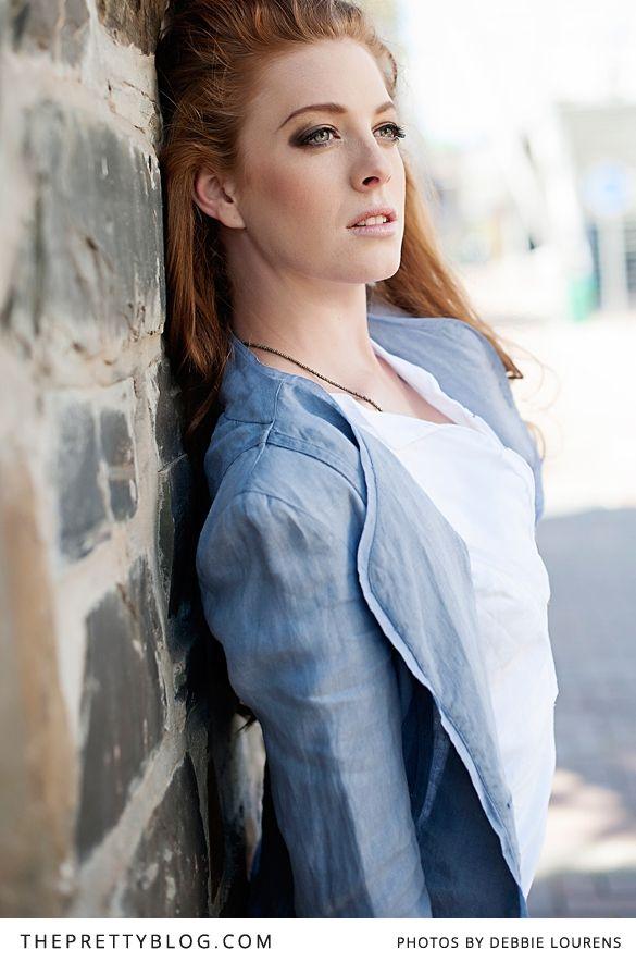 Grey jacket & white blouse   Photographer: Debbie Lourens Photography, Hair & Make-up: Marnel Toerien, Model: Kim Rose de Vries, Stylist: Stephen van Eeden for Rosenwerth, Clothing: Rosenwerth