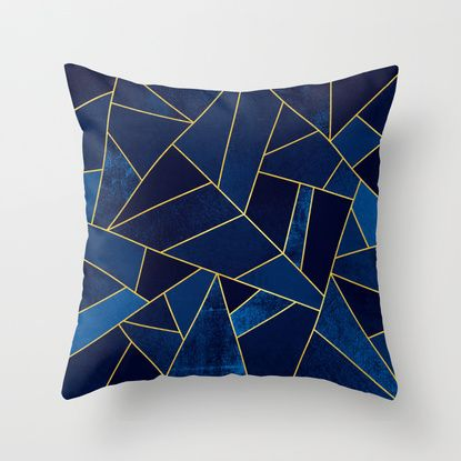 Blue stone with gold lines Throw Pillow