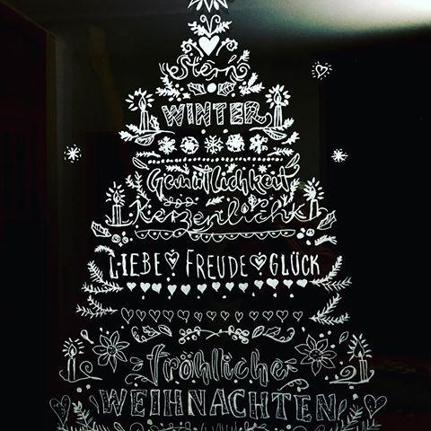 Unsere Weihnachtsdeko An Der Balkontüre Gemalt Mit Kreidestift