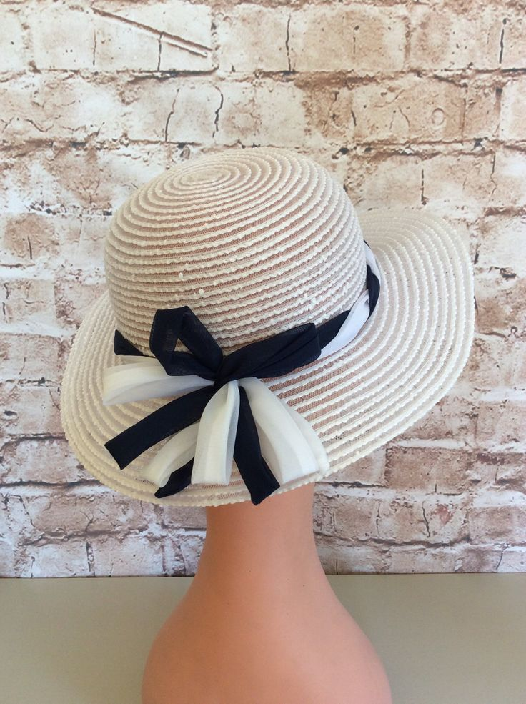 Vintage Hat Bonnet Sun Hat White Navy By BHS Millinery Garden Party Wedding Festival Made In Britain c 1970s by InVogueToVintage on Etsy