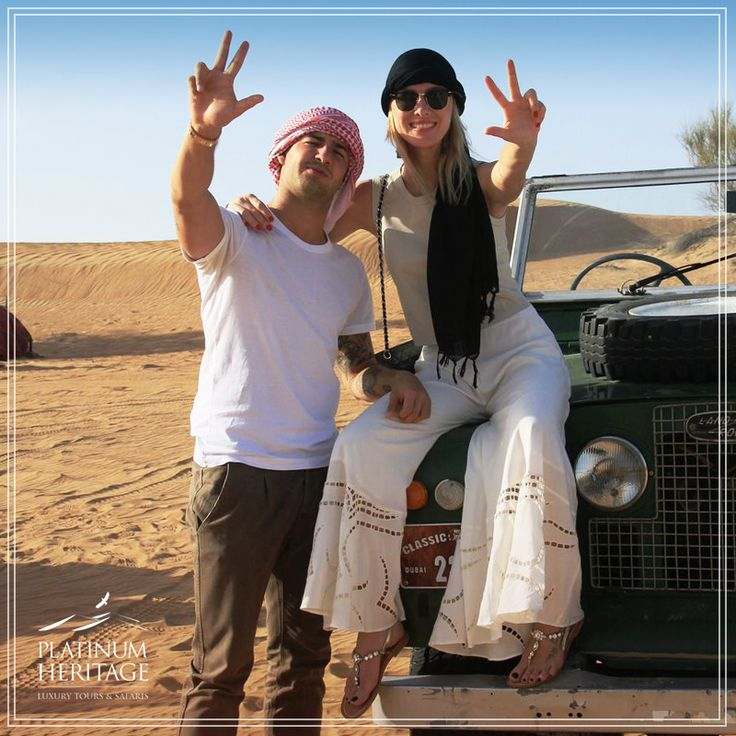 Alexandre Pato, the Brazilian footballer of Chelsea, cruised around our camp in an authentic Land Rover along with his gorgeous wife and TV presenter, Fiorella Mattheis. Even the Oryx had their eyes on them! #PlatinumHeritage #MyDubai