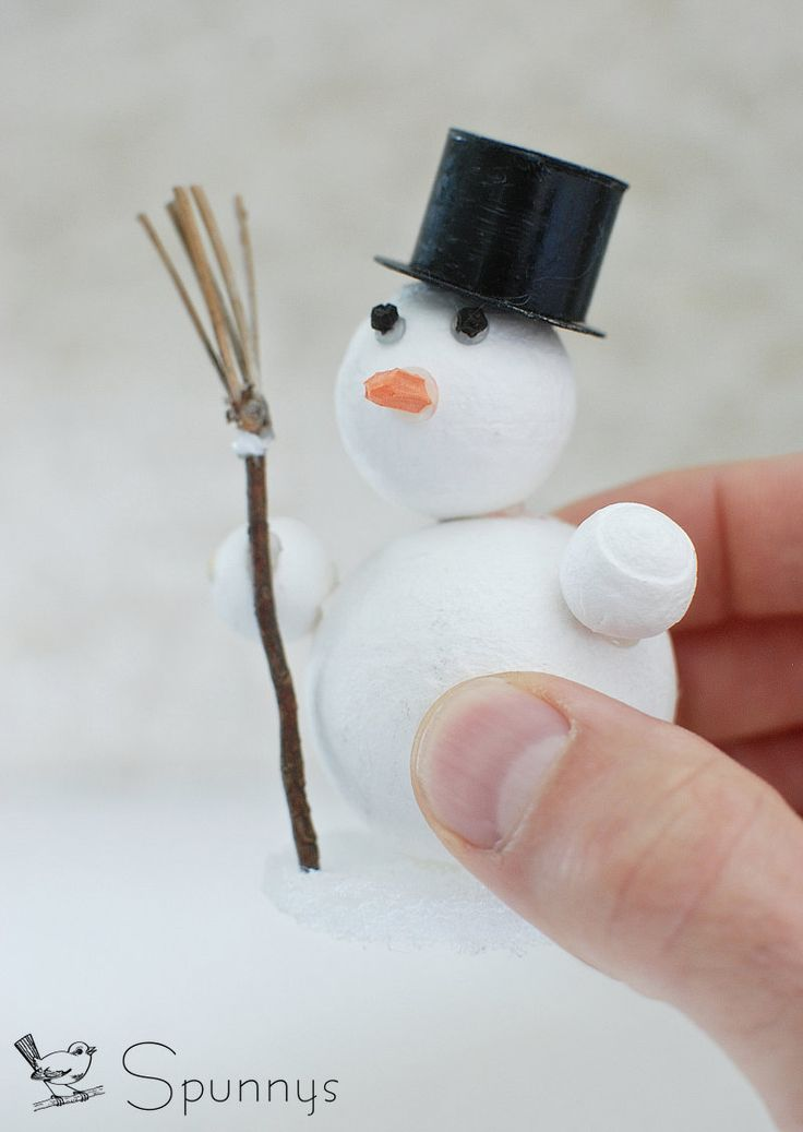Diy snowman figurine ornament spun cotton balls spun for How to make a snowman with cotton