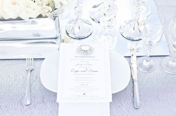 'Diamonds Forever' Wedding Styling Ideas silver crystal white