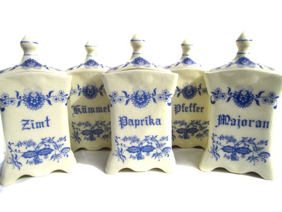 5 Antique Kitchen Containers / German Kitchen Canisters / Kitchen Storage via Etsy