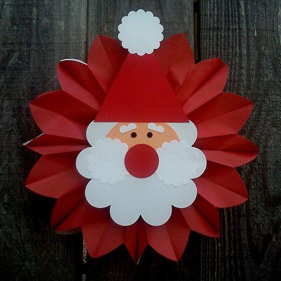 hanging paper santa ...easy kid craft #christmas #holidays #kidscrafts #papercrafts #santa