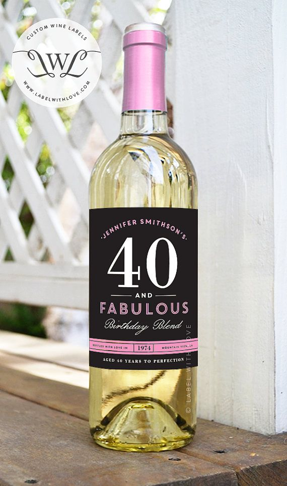 Fab 40 Party Wine Labels from www.labelwithlove.com  4 Custom Forty & Fabulous Wine Labels -  Choose Your Colors - Weatherproof Removable Birthday Wine Bottle Label 40th 50th 21st Milestone on Etsy, $18.99  #40thBirthday #fortyandfablulous #birthdaywinelabel