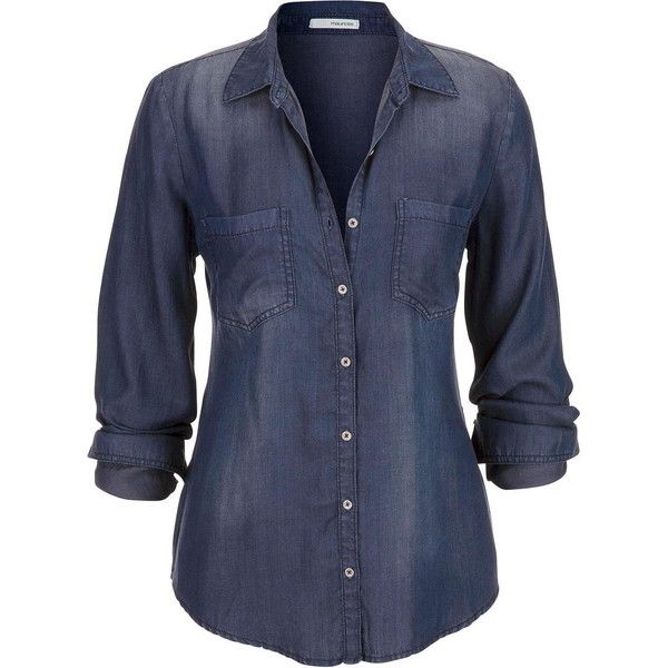 maurices Chambray Button Down Shirt In Dark Wash With Back Slit ($39) ❤ liked on Polyvore