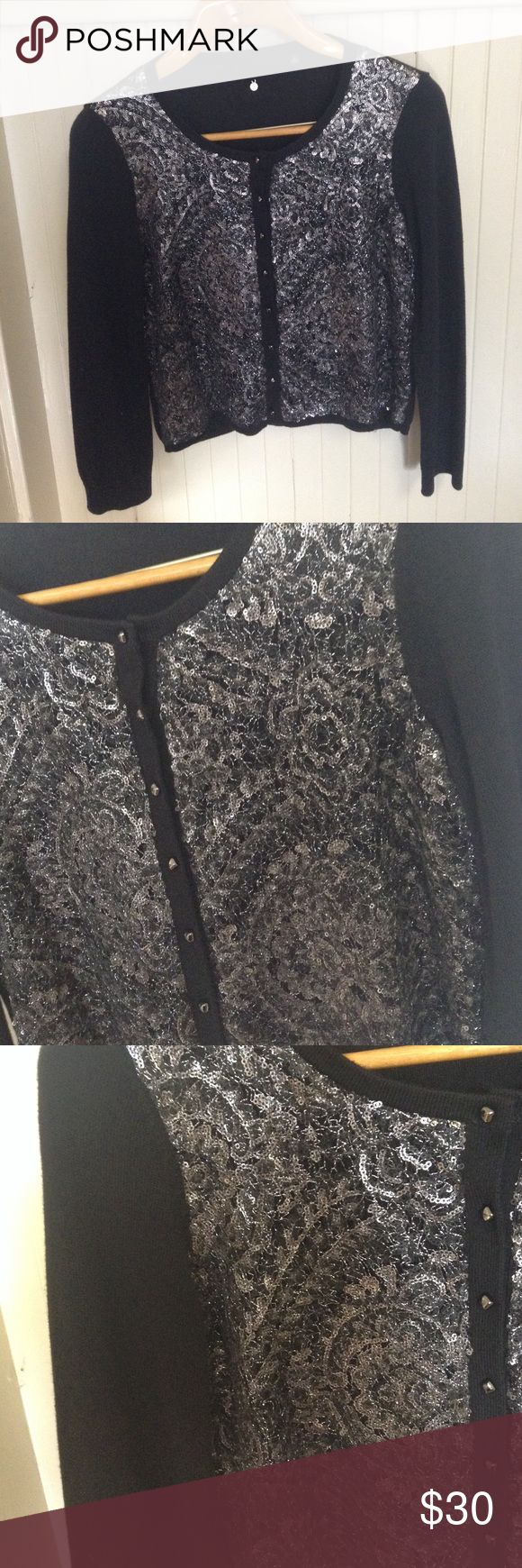 Knitted & Knotted Sequin Cardigan Sweater Gently used, no flaws. Black cardigan with silver sequins and knit on front. By the brand Knitted & Knotted. Beautiful 💖 Anthropologie Sweaters Cardigans