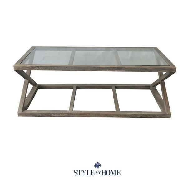 Joshua Oak Glass Cross Leg Coffee Table Table Coffee Table