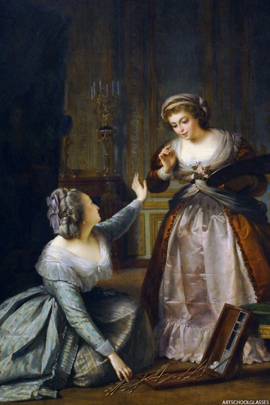 Marie antoinette Gathering the Brushes of Madame Vigee Lebrun, Alexis-Joseph Perignon, 1859
