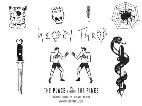 Tattoo Flash based on Ryan Gosling/Handsome Luke's tattoos in The Place Beyond The Pines