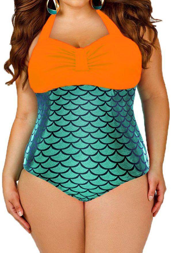 Prix: €14.38 Maillots Une Piece De Bain Orange Bralette Splice Metallic Mermaid One Piece Modebuy.com @Modebuy #Modebuy #CommeMontre #me #girly #styles
