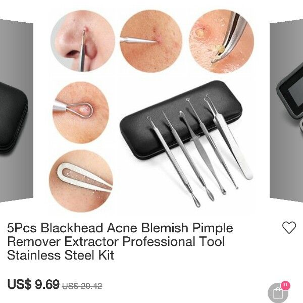 I don't own this, but purchased similar pieces separately at a local pharmacy. Disinfect tools with alcohol or peroxide @Neferast - 5Pcs Blackhead Acne Blemish Pimple Remover Extractor Professional Tool Stainless Steel Kit --- Skin Skincare Ingrown Hair Hairs Blackheads Pimples Acne Allergy Cysts #Skin #Skincare #Ingrown #Hair #Hairs #Blackheads #Pimples #Acne #Allergy #Cysts #Blemish #Pimple #Remover #Extractor #Stainless #Steel #Kit  #dermal #dermatologist #dermatology #Professional #Tool