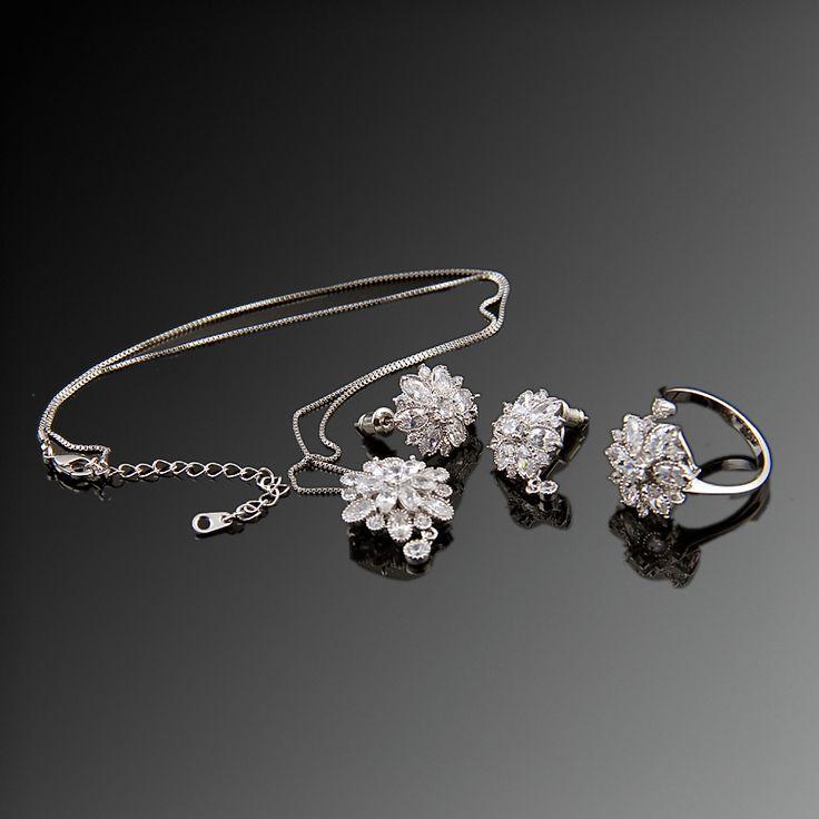 Dalya Üçlü Set - Avusturya kristali - Swarovski taşlar - Beyaz Altın kaplama - Aksesuar - Set - Dalya Takı Austrian Crystal - Swarovski stones - Accessory - Jewellery Set - Bridal - Royal - Glamorous - Dalya