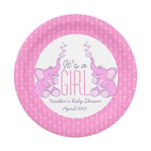 Heart elephants girl baby shower paper plates. Ideal for showering baby girls events personalize with your honoring mothers name and date. Art and design by www.sarahtrett.com