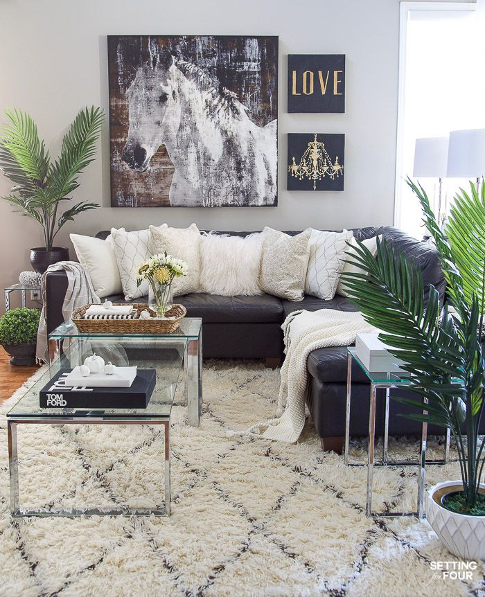 How To Style Decorate With Artificial Flowers Plants Living Room Decor Colors Black And White Living Room Living Room Decor Furniture