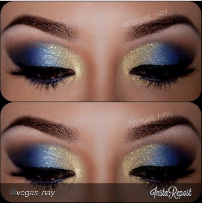 Beautiful blue and gold smokey eye makeup