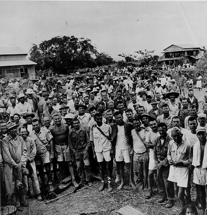In this picture former POWs pose for a picture after returning to the Philippines.
