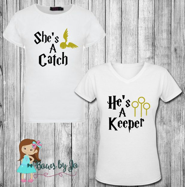 She's a Catch He's a Keeper Couples Harry Potter Matching Shirts by BowsByJo on…