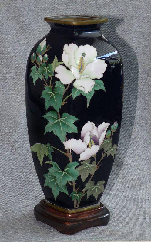 Beautiful Japanese Cloisonné Enamel Vase with Hibiscus