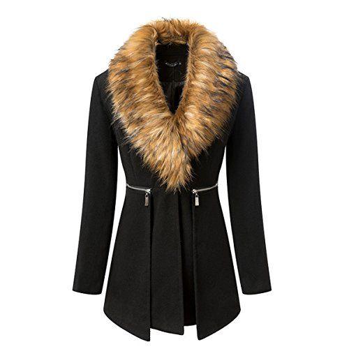 Zeagoo Damen Pelz Kragen Fleece Wollmantel Wolle Winter Jacke Mantel Parka Zip Up Lange Jacke