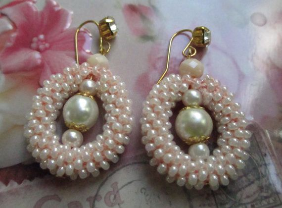 Creamy white beaded earrings  dangle seed bead by BagiraBijou