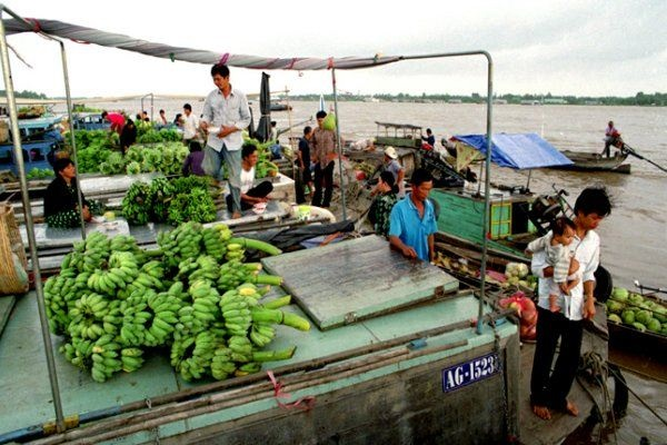 Long Xuyen market on river