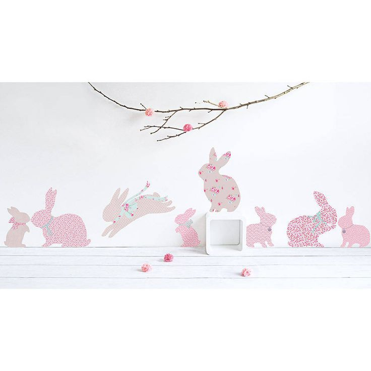 £32 Children's Rabbit Wall Stickers. This contains 11 fabric wall stickers