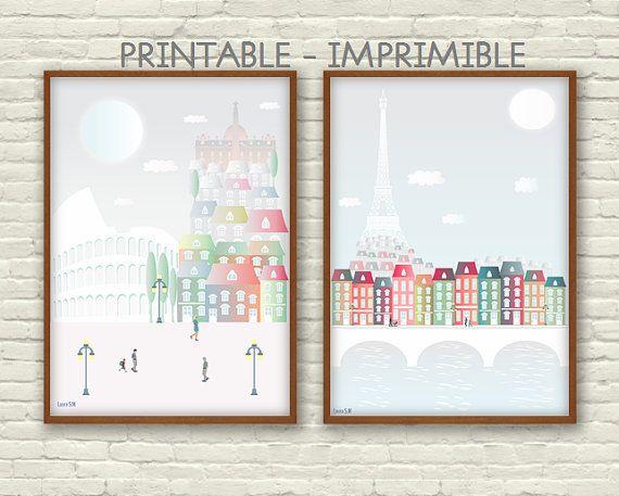 Roma, ilustración, ilustración digital, imprimible, ciudades, poster, laminas decorativas, Italia, torre eiffel, laminas, casas, color, arte